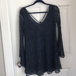 Navy Blue Laced Long Sleeve Dress